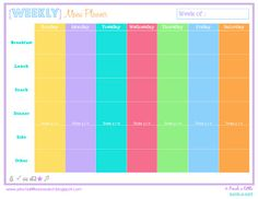 Pinch A Little Save-A-Lot: Free Weekly & Monthly Menu Planner **I like all the options for planning more than just lunch & dinner. Remember to rotate file clockwise before printing.**