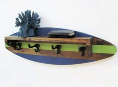Surfboard Shelf Coat Rack in Navy and Green by ProjectCottage, $89.00