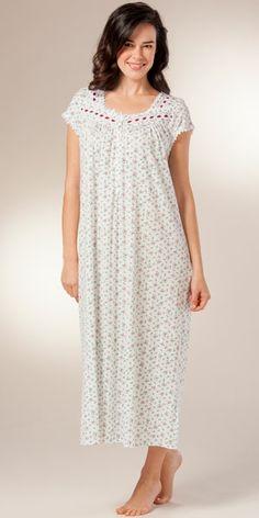 Eileen West Cotton Modal Cap Sleeve Long Nightgown - Mulberry Spray