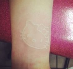 Hello Kitty Tattoo, White Ink