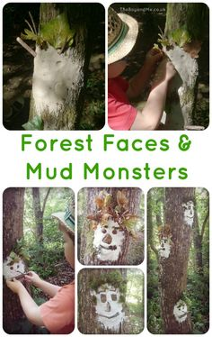 Creating Wild Art: Forest Faces Creating Forest Faces & Mud Monsters from TheBoyAndMe ( Forest School Activities, Nature Activities, Outdoor Activities, Activities For Kids, Kids Nature Crafts, Creation Activities, Kids Outdoor Crafts, Kids Crafts, Outdoor Education