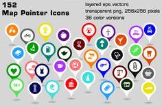 152 map pointer icons by stockimagefolio on @creativemarket