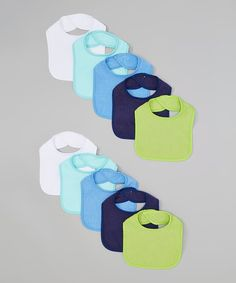 These bibs boast a lightweight cotton blend for simple care and an easy-on hook and loop closure.