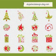 Christmas Clipart. Christmas Stars, Christmas Trees, Christmas Gift. Christmas Digital Images. 047 on Etsy, $4.00