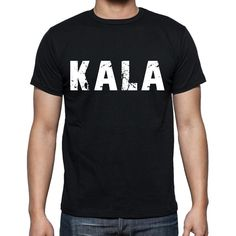 kala Men's Short Sleeve Rounded Neck T-shirt , 4 letters Black