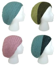 Free Crochet Pattern: Gumdrop Slouchy Hat from Gleeful Things. Suitable for a beginner. I really like the two-color version. Uses any bulky yarn. Bonnet Crochet, Crochet Beanie, Knit Or Crochet, Crochet Scarves, Crochet Crafts, Yarn Crafts, Crochet Clothes, Crochet Projects, Free Crochet