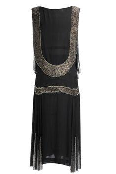 1920s Black Embellished Flapper Dress