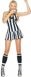 Sexy Female #RefereeCostumes or Flirty Game Umpire Sport Costume a Mini Black White Stripes Dress for Gameday Outfit