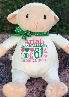 Personalized baby gift embroidered baby gift monkey birth personalized baby gift monogrammed baby gift embroidered lamb baby personalized by world class embroidery negle Image collections