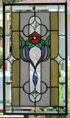 Stained Glass Window Hanging by zelma Hanging Stained Glass, Tiffany Stained Glass, Stained Glass Flowers, Faux Stained Glass, Stained Glass Designs, Stained Glass Panels, Stained Glass Projects, Stained Glass Patterns, Leaded Glass