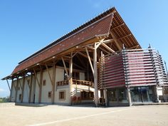 Urban Strawbale: Le Damassine - an ecological market in France built with straw bales, wood and clay
