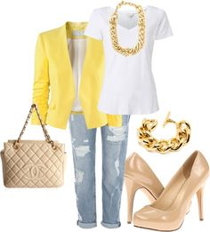 Yellow bright blazer, white tee, boyfriend jeans, could do white purse (have) and nude beige heels (have) ... like the gold jewelry outfit