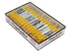 $6.99 http://sanduskycandy.com/candy-colors/yellow-candy/Flipsticks-banana-box-of-48.html