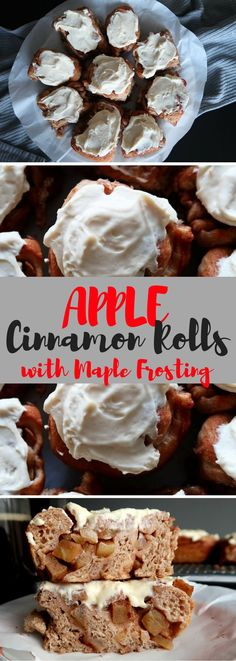 These soft, sweet cinnamon rolls are easy-to-make and loaded with cinnamon spiced granny-smith apples then topped with real maple cream cheese.