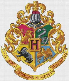 Hogwarts Crest Cross-Stitch Pattern