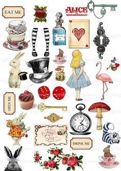 Alice in Wonderland Clipart Alice Clip Art Watercolor Mad Hatter Tea Party Eat Me Drink Me White Rabbit Key Illustration PNG file JPEG file - Etsy - This is a gorgeous Alice in Wonderland Digital Collage Sheet! Its great for your craft project, car - Alicia Wonderland, Alice In Wonderland Clipart, Alice In Wonderland Illustrations, Alice And Wonderland Quotes, Alice In Wonderland Tea Party, Alice In Wonderland Rabbit, Alice In Wonderland Printables, Alice In Wonderland Background, Tattoo Alice In Wonderland