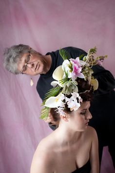 Ladies of Spring ~ me at work  Rebecca  Stark behind the camera #lezlieatworkwithflowers #creationatwork #makingflowerfun #flowersinyourhair