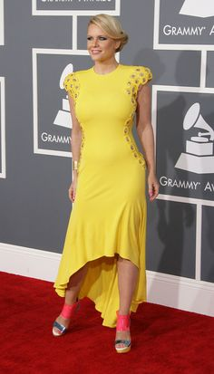 Grammy Awards 2013 dress by Niki Schwan for Lura Star shoes by Christian Louboutin makeup by Jessica Hoffman hair by Matt Motherhead Star Shoes, Get The Look, Christian Louboutin, Awards, Foxes, Formal Dresses, Carrie, Celebrities, Lady