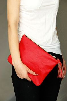 Red leather clutch bag by PansyBag on Etsy, $49.00