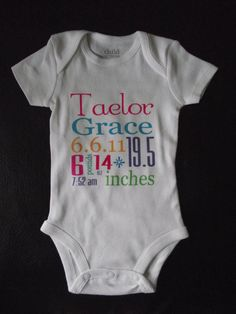 Birth Annoucement Onesie...Personalized Newborn or 0-3 Month Onesie ...Love Custom Orders Feel Free to Request