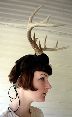 Deer Antler Headband  black with natural antlers  by doublespeak, $140.00 deer costume halloween