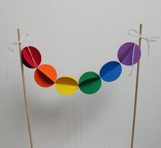 Cake Bunting Topper Decoration  Rainbow Baubles by polkadotshop, $10.00