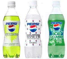 Only in Japan - CUCUMBER FLAVORED PEPSI - plus two other weird flavors.