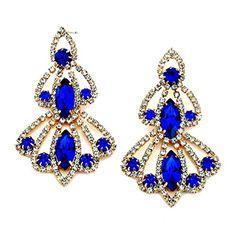"""2-25"""" Sapphire Clear Rhinestone Crystal Gold Earrings Evening Affordable Wedding Jewelry Bridal Affordable Wedding Jewelry http://www.amazon.com/dp/B015ERP4I6/ref=cm_sw_r_pi_dp_tuOjwb1J1GAWJ"""