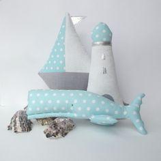 Plush Whale sailboat beacon nautical nursery by CherryGardenDolls