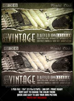 """Vintage Flyer Design  #GraphicRiver         Vintage – Retro – Indie – Folk Night Club Party / Concert Flyer Template   The PSD file is setup at 2175px x 1275px (7×4"""" with .25"""" bleeds) CMYK 300DPI – PRINT READY  Very well organised file All objects included and editable Photos not included in download Fonts: Anastasia, Steelfish and Marketing Script Shadow     Created: 1December11 GraphicsFilesIncluded: PhotoshopPSD Layered: Yes MinimumAdobeCSVersion: CS2 PrintDimensions: 7x4 Tags: ad…"""