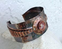 Mixed Metal Cuff Bracelet Riveted Fold Formed Textured Copper Jewelry