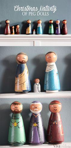 Make a Peg Doll Nativity Set for Christmas - Nativity Diy How to Make Christmas Nativity Set, Nativity Crafts, Noel Christmas, Wood Crafts, Christmas Crafts, Diy Crafts, Nativity Sets, Christmas Printables, Christmas Ornament