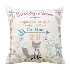 Birth Stats Baby Girl Woodland Creatures Fox Pillow. Perfect for Finnley's room!: