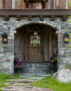 Front door log home entrance, patterned after the Great Log Lodges of the National Parks