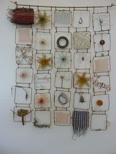 Wire Quilt by Mia Hamilton - inspiration for connecting numerous small mixed-media panels into one work Art Fil, Bijoux Fil Aluminium, Nz Art, Collaborative Art, Wire Crafts, Beads And Wire, Wire Art, Fabric Art, Textile Art