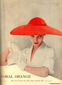 """Jean Patchett Vogue Magazine """"Paris Dior"""" Coral Orange feature Photography by Norman Parkinson March 15, 1950"""