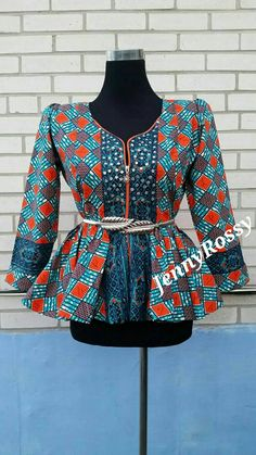 Jenny Rossy African print peplum top African blouse with rhinestone   design  jacket zipper top African clothing ankara  women size us 0-18 (105.00 CAD) by JENNYROSSYCLOTHING
