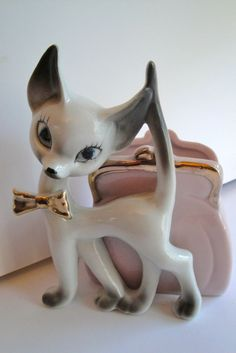 Vintage Cat Figurine Planter Siamese White Japan Pink Purse. $12.00, via Etsy.