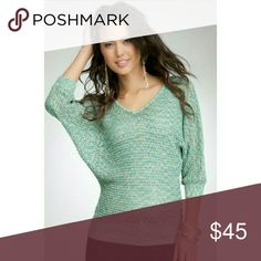 bebe Dolman Sweater Brand new, unworn, with tags  Bebe space dye net stitch dolman sweater Beautiful metallic stitching accentuates blue green hue Size: small 60% acrylic, 40% metalic bebe Sweaters V-Necks
