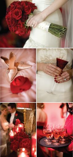 red wedding--love the brides boquet and the fullness and tightness of the roses.of course hot pink! My Wedding Red Wedding Flowers, Prom Flowers, Floral Wedding, Fall Wedding, Wedding Inspiration, Wedding Ideas, Wedding Stuff, Bride Bouquets, Friend Wedding