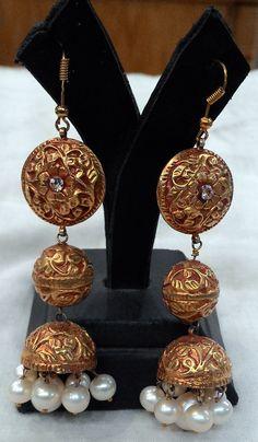 Simplistic chitai work earrings | Kundan Meena Earrings
