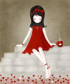 Niña del vestido rojo.