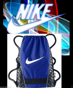 NIKE BACKPACK STRING BAG GYM SACK SWOOSH CHECK LOGO BLUE SCHOOL SPORTS TRAVEL  #Nike #Backpack