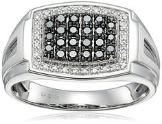 Men's 10k White Gold Black and White Diamond Gents Ring (1/2cttw I-J Color I3 Clarity) Size 10.5...