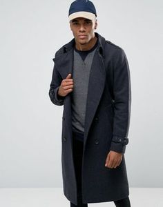 ASOS Wool Mix Double Breasted Overcoat In Charcoal