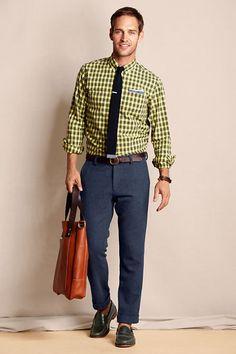 Men's Elston 608 Slim Fit Herringbone Pants from Lands' End