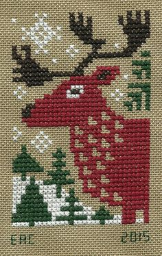 The Prairie Schooler, Evergreen, Red Reindeer I. Cross Stitch Christmas Ornaments, Xmas Cross Stitch, Cross Stitch Cards, Christmas Cross, Counted Cross Stitch Patterns, Cross Stitch Designs, Cross Stitching, Cross Stitch Embroidery, Embroidery Patterns