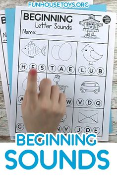 Cursive Alphabet Discover Teaching Beginning Letter Sounds by using pictures and Capital Letters. Simple Worksheets for PreK Identifying beginning letter sounds by using pictures and capital letters. A great addition to our Beginning Writer Worksheets. Beginning Sounds Worksheets, Letter Worksheets For Preschool, English Worksheets For Kindergarten, Kindergarten Prep, Phonics Worksheets, Preschool Letters, Preschool Learning Activities, Preschool Lessons, Worksheets For Preschoolers