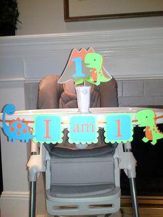 Dinosaur Cake Topper I am 1 birthday banner t-rex First 1st Birthday Banners, Dinosaur Birthday Party, Baby First Birthday, First Birthday Parties, Birthday Party Invitations, Dinosaur Cake Toppers, Birthday Pictures, Birthday Ideas, 1st Birthdays