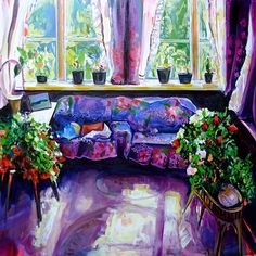 Ekaterina Popova ~ Solnechnaya Komnata (Sun Room), oil on canvas, 36x36 in. http://kterinapopova.com/